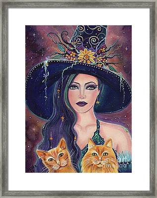 Jinx And Jazz Halloween Witch With Kitties Framed Print by Renee Lavoie