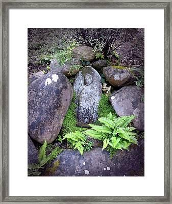 Jizo Buddha Among The Ferns Framed Print
