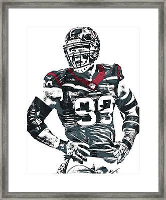 Jj Watt Houston Texans Pixel Art 5 Framed Print by Joe Hamilton