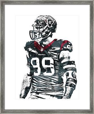 Jj Watt Houston Texans Pixel Art 6 Framed Print by Joe Hamilton