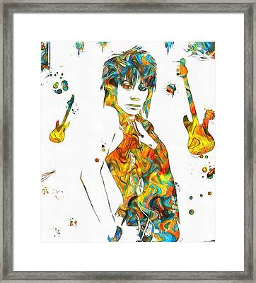 Joan Jett Colorful Paint Splatter Framed Print