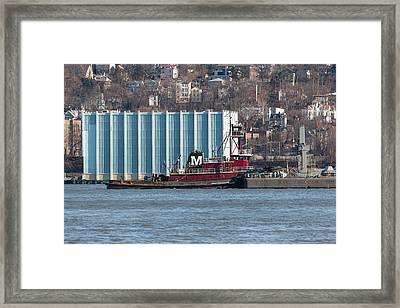Joan Moran Tugboat On The Hudson River Framed Print