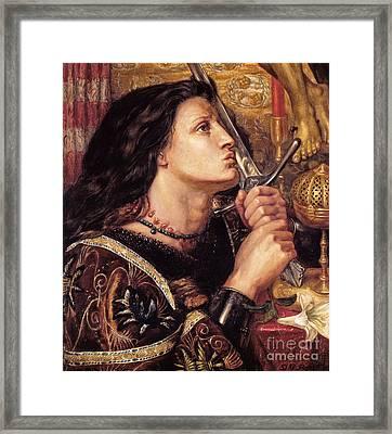 Joan Of Arc Kissing The Sword Of Deliverance Framed Print by MotionAge Designs
