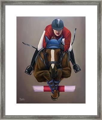 Jockey Jumping Framed Print by Radoslav Nedelchev