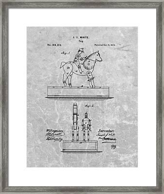 Jockey Toy Patent Charcoal Framed Print