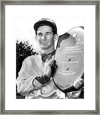 Jockey Willie Shoemaker Framed Print by Underwood Archives