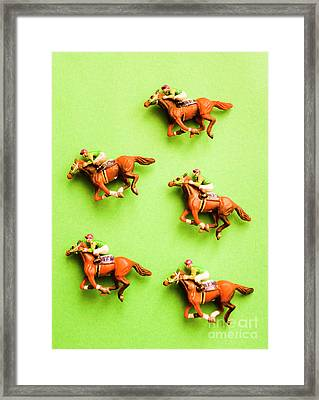 Jockeys And Horses Framed Print