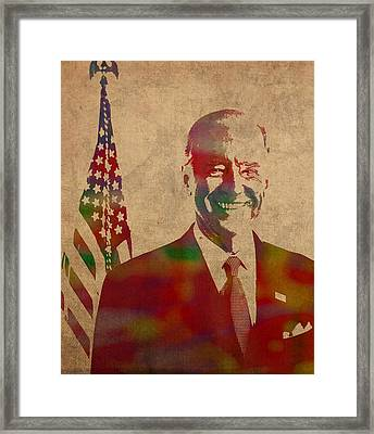 Joe Biden Watercolor Portrait Framed Print