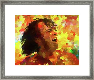 Joe Cocker Colorful Palette Knife Framed Print by Dan Sproul