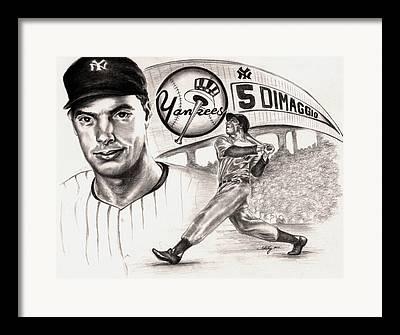 Ny Yankees Drawings Framed Prints