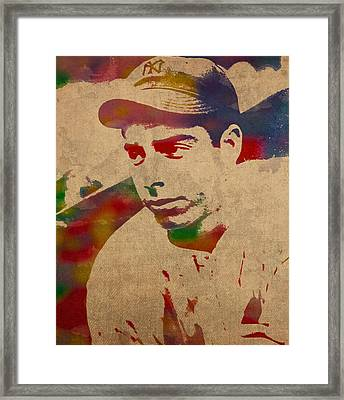 Joe Dimaggio New York Yankees Baseball Player Legend Sports Star Watercolor Portrait On Worn Canvas Framed Print