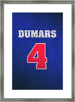 Joe Dumars Detroit Pistons Number 4 Retro Vintage Jersey Closeup Graphic Design Framed Print