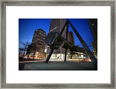 Joe Louis Fist Statue Jefferson And Woodward Ave. Detroit Michigan Framed Print