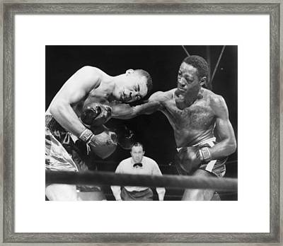 Joe Louis Left, Takes A Hard Right Framed Print