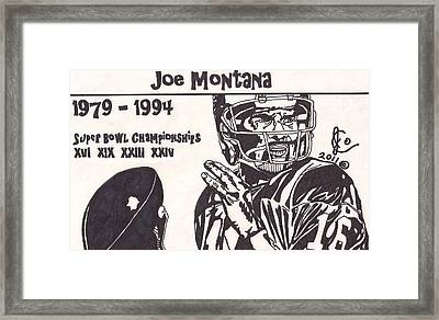 Joe Montana Stats Edition Framed Print