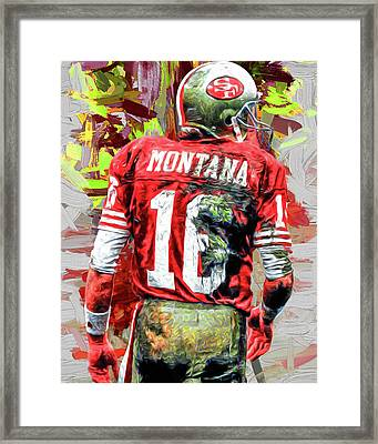 Joe Montana Football Digital Fantasy Painting San Francisco 49ers Framed Print by David Haskett