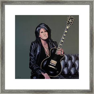 Joe Perry Of Aerosmith Painting Framed Print by Paul Meijering