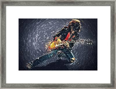 Joe Perry Framed Print by Taylan Apukovska