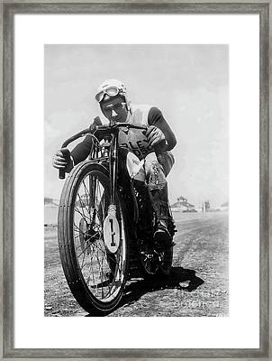 Joe Petrali On His Harley Circa 1937 Framed Print