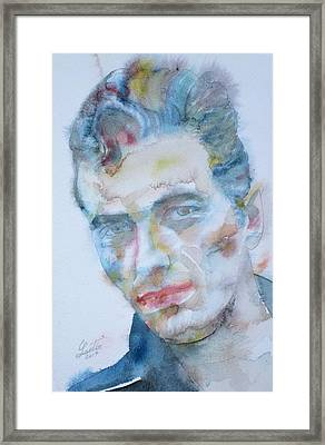 Joe Strummer - Watercolor Portrait.5 Framed Print