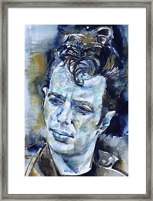 Joe Strummer - Watercolor Portrait.6 Framed Print