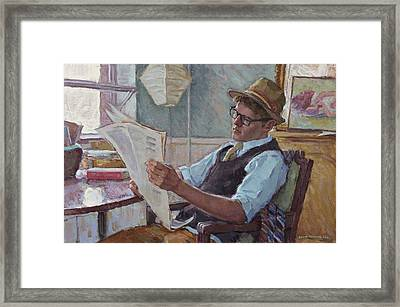 Joe With The Morning Paper Framed Print