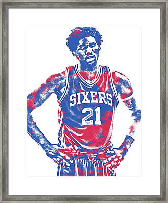 Joel Embiid Philadelphia Sixers Pixel Art 10 Framed Print