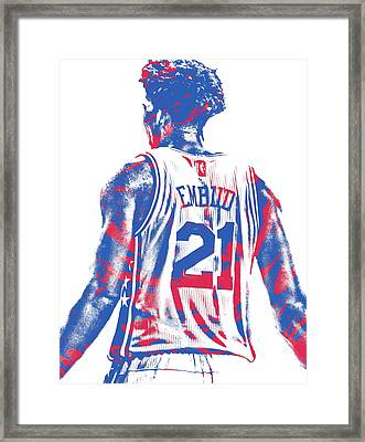 Joel Embiid Philadelphia Sixers Pixel Art 11 Framed Print