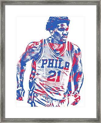 Joel Embiid Philadelphia Sixers Pixel Art 12 Framed Print