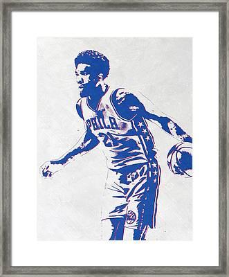 Joel Embiid Philadelphia Sixers Pixel Art Framed Print by Joe Hamilton