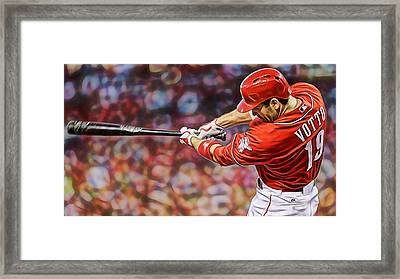 Joey Votto Baseball Framed Print by Marvin Blaine