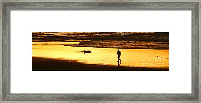 Framed Print featuring the photograph Jog At Sunset by Larry Keahey
