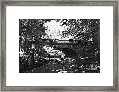 Jogging In Central Park Framed Print by David Bearden