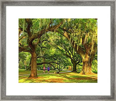Jogging In City Park - New Orleans - Paint Framed Print