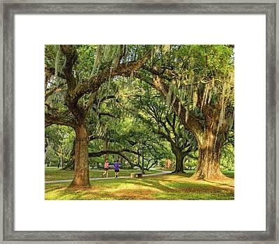 Jogging In City Park - New Orleans Framed Print