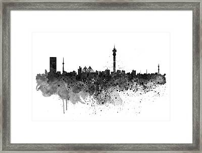 Johannesburg Black And White Skyline Framed Print by Marian Voicu