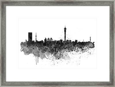 Johannesburg Black And White Skyline Framed Print