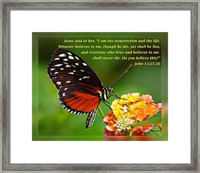 John 11 25-26 Framed Print