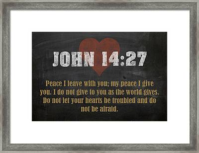 John 14 27 Inspirational Quote Bible Verses On Chalkboard Art Framed Print