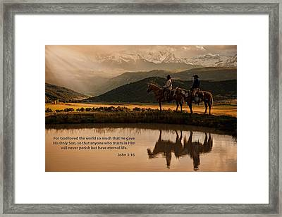 Framed Print featuring the photograph John 3 16 Scripture And Picture by Ken Smith