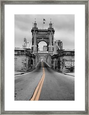 John A Roebling Suspension Bridge Framed Print by Dan Sproul