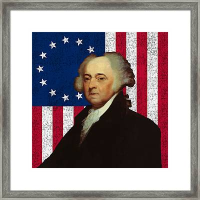 John Adams And The American Flag Framed Print
