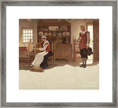 John Alden And Priscilla Framed Print by Newell Convers Wyeth