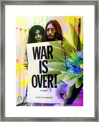 John And Yoko - War Is Over Framed Print by Andrew Osta