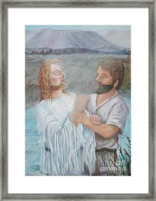 John Baptizing Jesus Framed Print by Janna Columbus