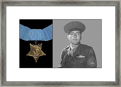 John Basilone And The Medal Of Honor Framed Print