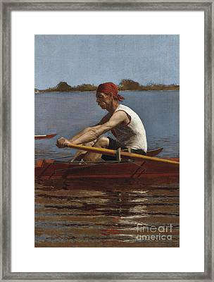 John Biglin In A Single Scull, 1874  Framed Print