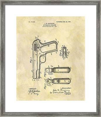 John Browning Automatic Pistol Patent Framed Print by Dan Sproul