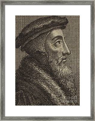 John Calvin, French Theologian And Pastor Of The Protestant Reformation  Framed Print