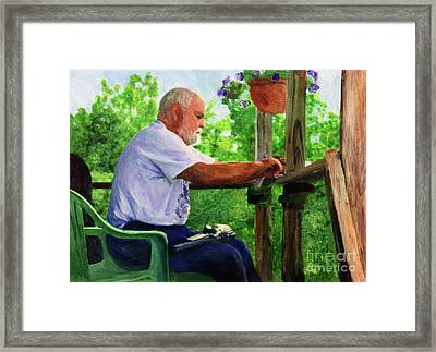 John Cleaning The Rifle Framed Print